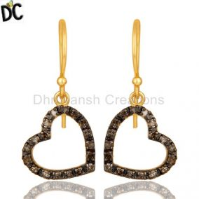 Pave Diamond 18K Gold Plated Sterling Silver Heart Shape Earring