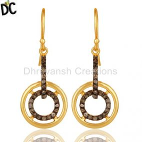 Diamond And 18K Gold Plated Sterling Silver Gemstone Drop Earring