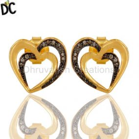Diamond and 18K Gold Plated Sterling Silver Heart Shape Ear Stud