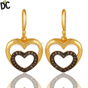 Diamond And 18K Gold Plated Sterling Silver Heart Design Ear Stud