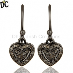 Diamond and Oxidized Sterling Silver Heart Designer Earring