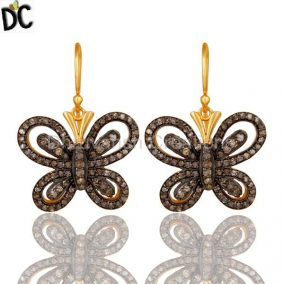 Diamond and 18K Gold Plated Sterling Silver Butterfly Drop Earring