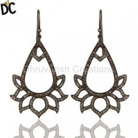 Diamond Lotus Dangler Earring Oxidized Sterling Silver Earring