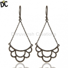 Diamond Cut Lotus Dangler Earring Oxidized Sterling Silver Earring