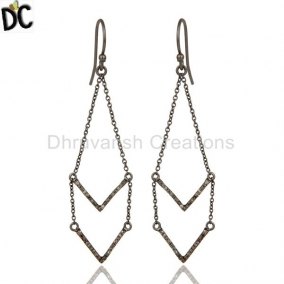 Diamond And Black Oxidized Sterling Silver V Shae Drop Dangler Earring