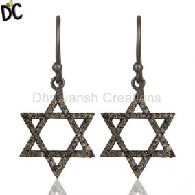 Diamond With Sterling Silver Black Oxidized Star Style Stud Earring