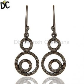 Handmade Black Oxidized Sterling Silver Dangle Design Earrings With Diamond Cut