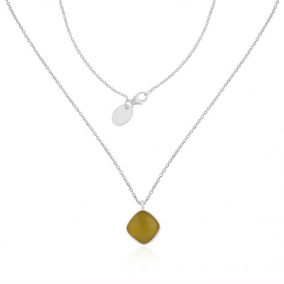 Yellow Chalcedony Gemstone Fine STerling Silver Chain Pendant Necklace Wholesale
