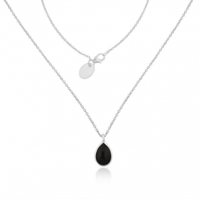 Fine Sterling Silver Black Onyx Gemstone Chain Necklace Manufacturer India