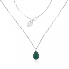 Green Onyx Gemstone Fine Sterilng Silver Chain Necklace Wholesaler India