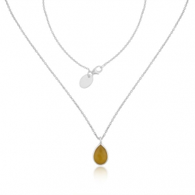 Yellow Chalcedony Gemstone Sterling Fine Silver Handmade Chain Necklace Pendant