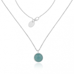 Aqua Chalcedony Gemstone Fine Sterling Silver Handmade Chain Necklace Pendant
