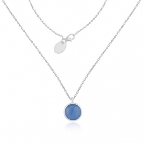 Blue Chalcedony Gemstone Fine Sterling Silver Chain Necklace Wholesaler India