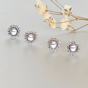 Silver Sun Studs, Tiny Earrings, Minimalist Ear Studs, Silver Ear Studs, Gifts For Her, Pretty Ear Studs