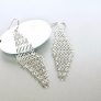 Silver Mesh Ear Danglers, Silver Ear Danglers, Feminine Jewelry, Pretty Ear Studs, Gifts For Her