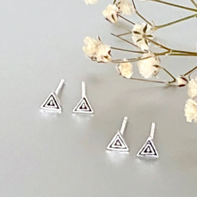 Silver Triangle Earrings, Oxidized Triangle Earrings, Minimalist Silver Ear Studs, Gifts For Her, Dainty Earrings, Bohemian Ear Studs