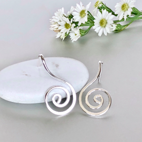 Spiral Silver Ear Studs, Silver Ear Studs And Danglers, Feminine Jewelry, Pretty Ear Studs, Gifts For Her