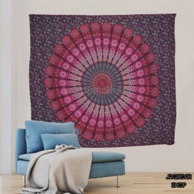 Handmade Peacock Purple Mandala Tapestry, mandala wall art, Tapestry wall hanging, Indian Hippie Bohemian Beautiful Wall Hanging Bedding.