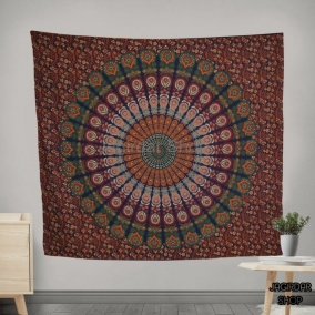 Handmade Green Peacock Mandala Tapestry, mandala wall art, Tapestry wall hanging, Indian Hippie Bohemian Beautiful Wall Hanging Bedding