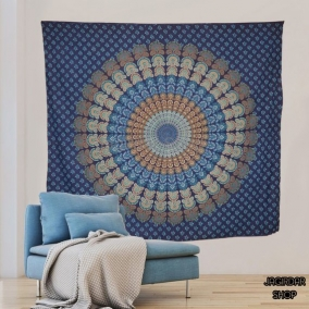 Peacock Sky blue Mandala Tapestry, mandala wall art, Tapestry wall hanging, Indian Hippie Bohemian Beautiful Wall Hanging Bedding.
