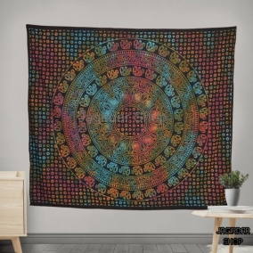 Handmade Elephant Black Mandala Tapestry, mandala wall art, Tapestry wall hanging, Indian Hippie Bohemian Beautiful Wall Hanging Bedding