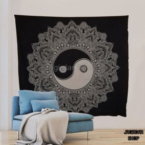 Handmade Freedom Equality Black Mandala Tapestry, mandala wall art, Tapestry wall hanging, Indian Hippie Bohemian Wall Hanging Bedding
