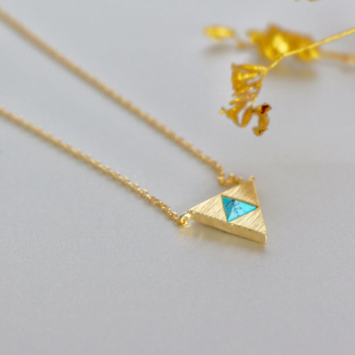 Egyptian Turquoise Charm Necklace, Gold Charm, Delicate Gold Dipped Chain, Layering Necklace, Bohemian Neck Chain ,