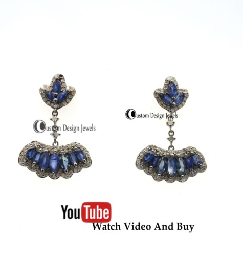Pave Diamond Earrings, Pave diamond and blue Sapphire Chain earring, Christmas gift jewellery, WatchAndBuy
